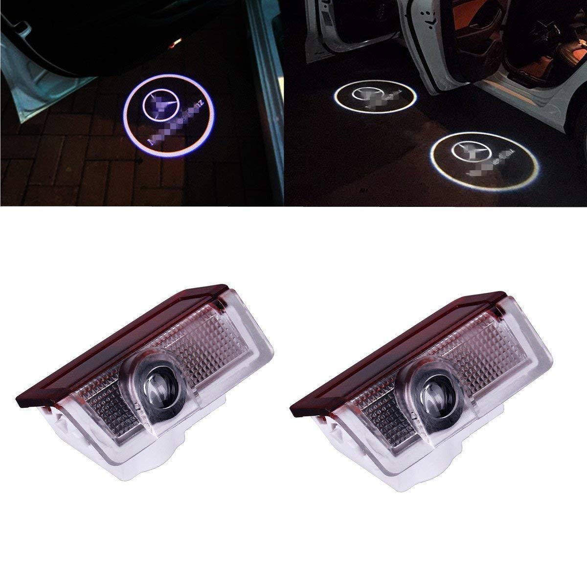 SOONDAR for Ford Car Door Light Projector 2pcs Upgraded Universal Sensor Wireless Car Projection Cree LED Projector Door Shadow Light Welcome Light