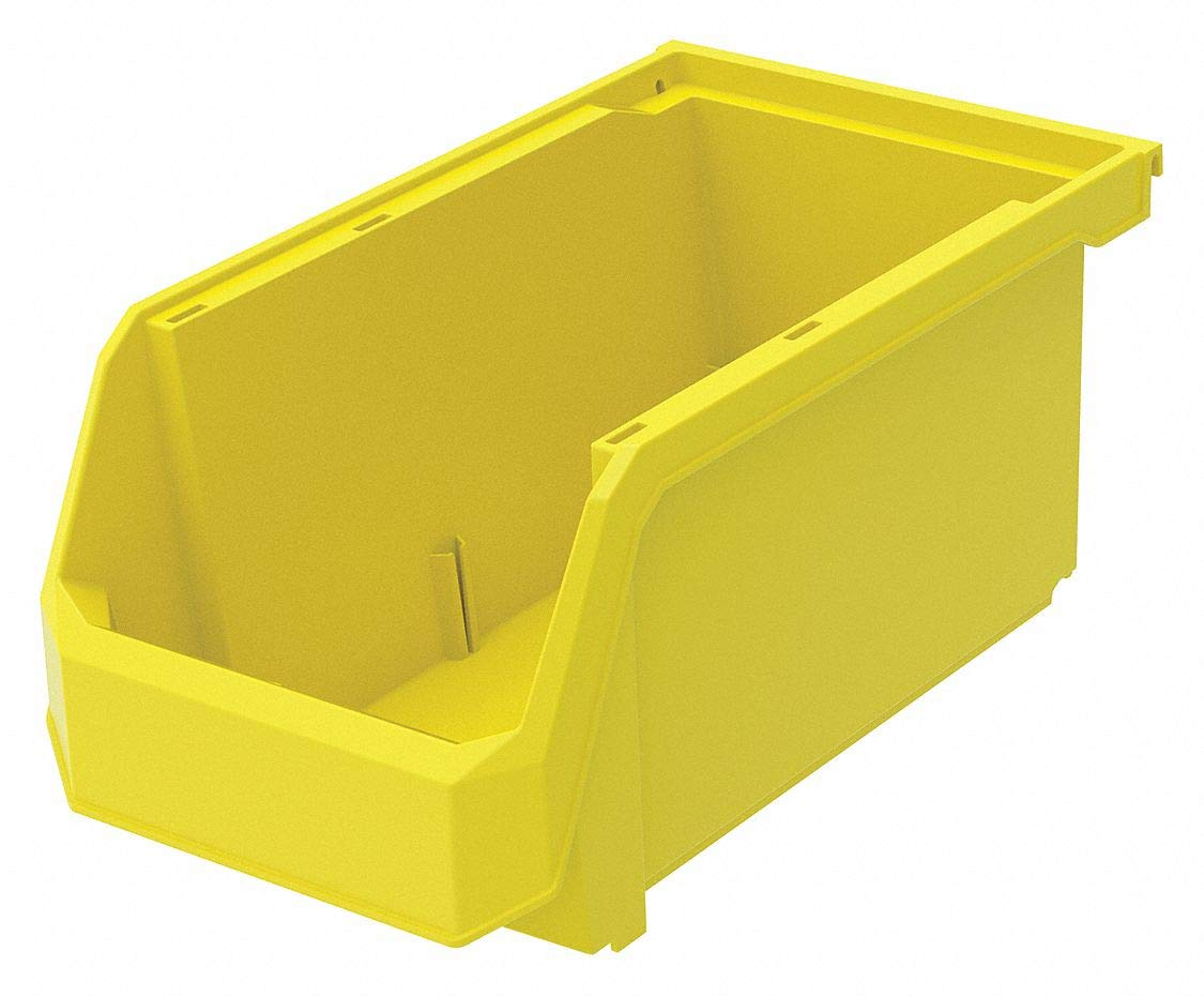 Hang and Stack Bin, Yellow, 14-3/4'' Outside Length, 8-1/4'' Outside Width, 7'' Outside Height pack of 5