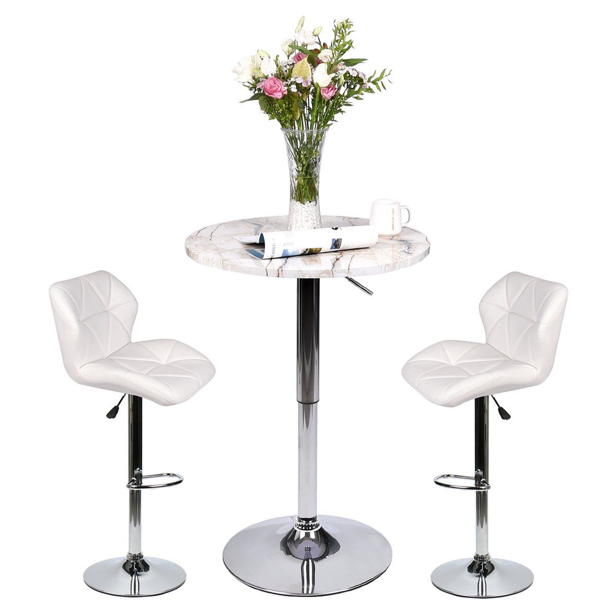 Pub Table Set 3 Piece - 24 inch Round Table with 2 Leatherette Chairs - Height Adjustable (White Barstools + Marble Stripe Pub Table)