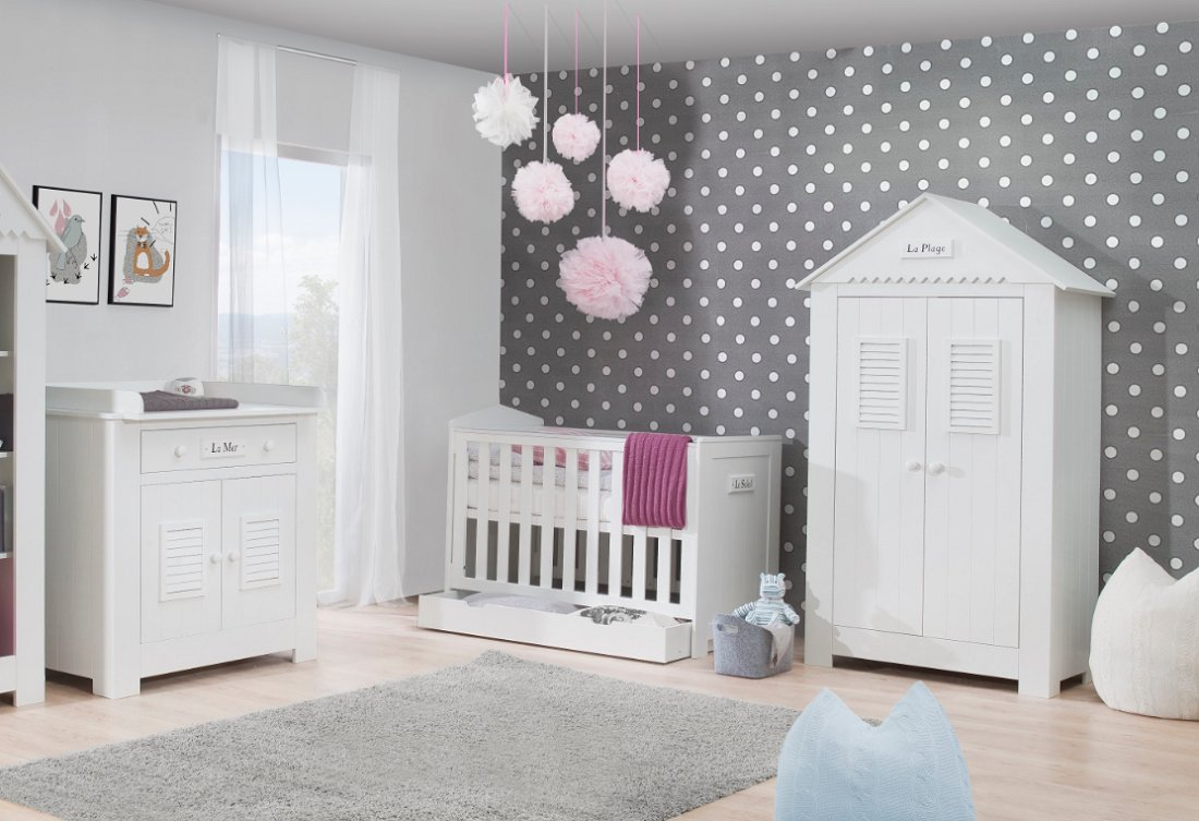 Günstige babyzimmer  Babyzimmer Kinderzimmer SAINT-TROPEZ weiß MDF, Komplettset A, Bett ...