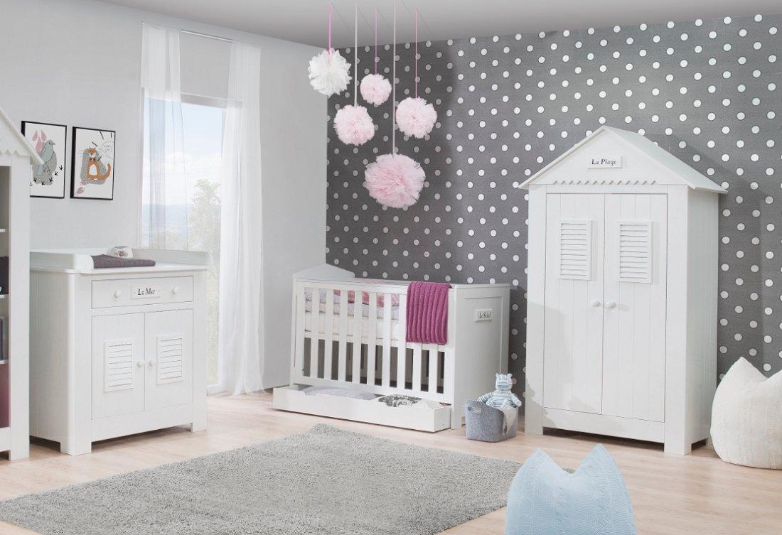 Babyzimmer Kinderzimmer Saint Tropez Weiss Mdf Komplettset A Bett