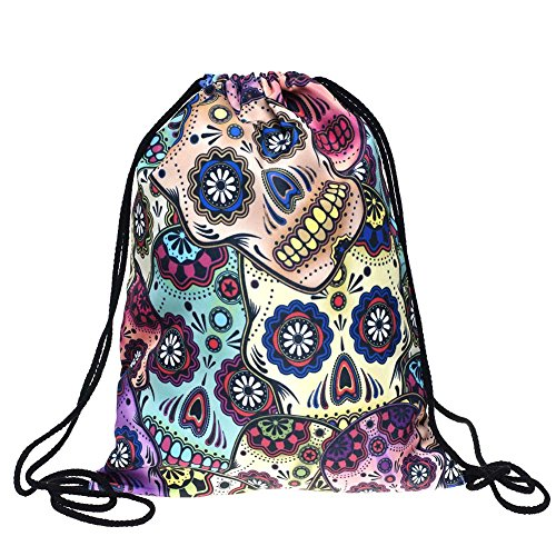 Bosunshine Unique Gothic Style Halloween Accessories Gifts Unisex Skullcandy Bones Printed Backpacks Drawstring Shoulder Rucksack Sport Travel Casual Backpack - Pictures Of Hobo Halloween Costumes