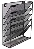 Mesh Cascading Wall File Holder Organizer | Mounted Hanging Mail Rack | 5 Compartments - (Black)
