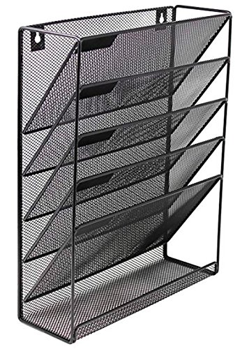 Mesh Cascading Wall File Holder Organizer | Mounted Hanging Mail Rack | 5 Compartments - (Black) by Noe&Malu