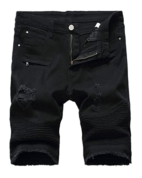 Lavnis Mens Casual Denim Shorts Classic Fit Ripped Distressed Summer Jeans Shorts