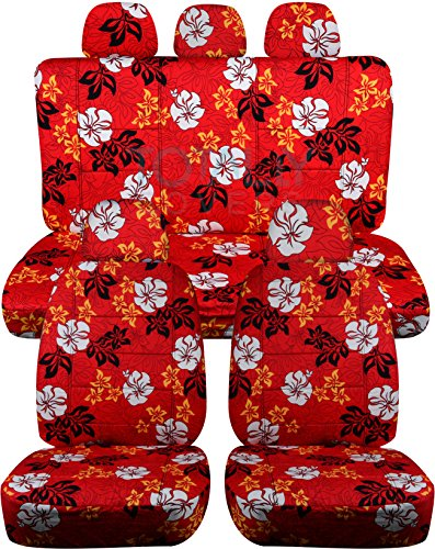 Hawaiian Print Car Seat Covers w 5 (2 Front + 3 Rear) Headrest Covers: Red w Flowers - Semi-Custom Fit - Full Set - Will Make Fit Any Car/Truck/Van/SUV (6 Prints)