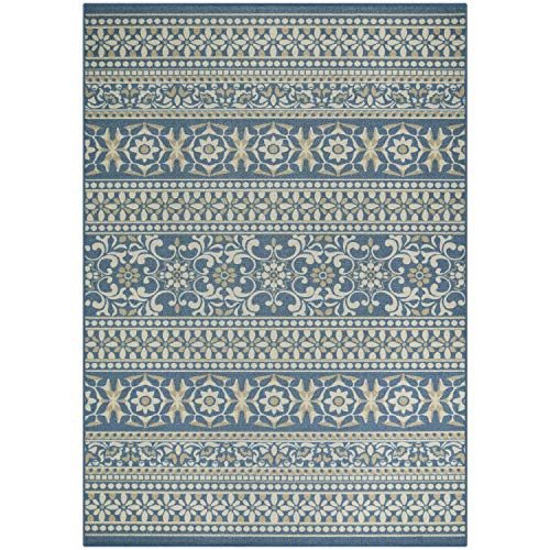Maples Rugs Area Rugs - Zoe 7 x 10 Non Slip Large Area Rugs [Made in USA] for Living Room, Bedroom, and Dining Room, Blue
