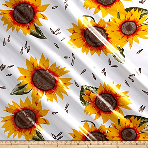 Oilcloth Sunflower Yellow/White Fabric By The Yard by OilCloth (Oilcloth By The Yard)