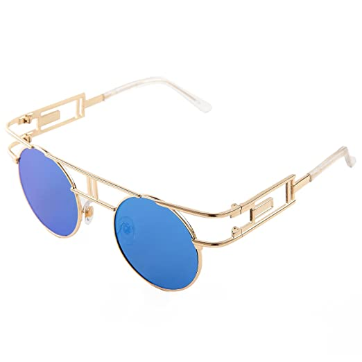 8d206d0cbdf SojoS Retro Vintage Style Gothic Steampunk Flash Mirror Reflective Circle  Sunglasses With Gold Frame Blue