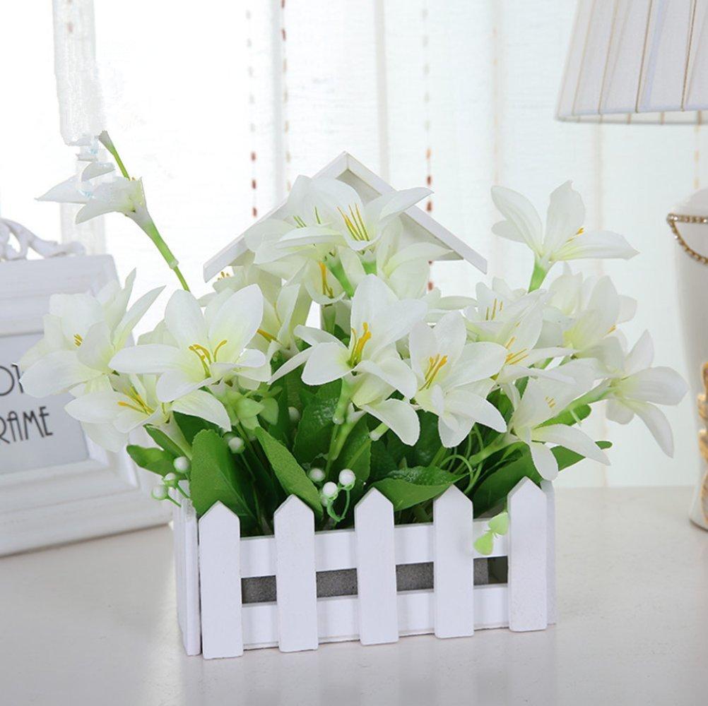 Amazon.de: C & L Simuliert Seide Blumen Set Flower Wall Zaun Blume ...