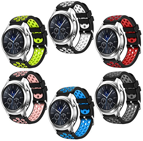 For Samsung Gear S3 Frontier and Classic Watch,CreateGreat Soft Replacement Breathable Sport Bands with Air Holes for Samsung Gear S3 Smart Watch Band(Mix)