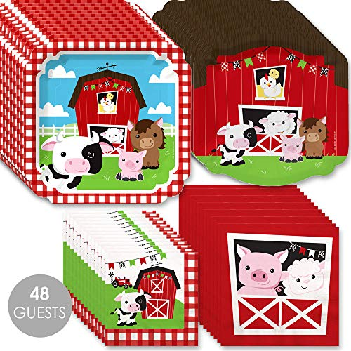 Farm Animals - Barnyard Baby Shower or Birthday Party Tableware Plates and Napkins - Bundle for - Lunch Barnyard