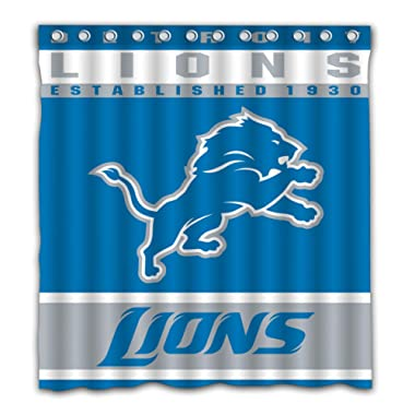 Potteroy Detroit Lions Team Design Shower Curtain Waterproof Mildew Proof Polyester Fabric 66x72 Inches