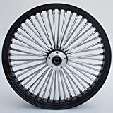 Ultima King Spoke Tubeless Black/Chrome Front Dual Discs Wheel 21x3.5 for 00+ Harley 37-543