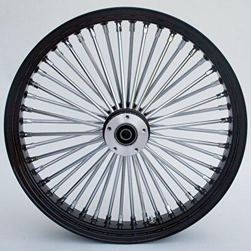 Ultima King Spoke Tubeless Black/Chrome Front Dual Discs Wheel 21x3.5 for 00+ Harley 37-543 by Ultima