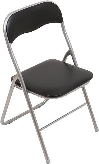 6x Klappstuhl Kunst-Leder Schwarz Büro Besucher Konferenz Stuhl