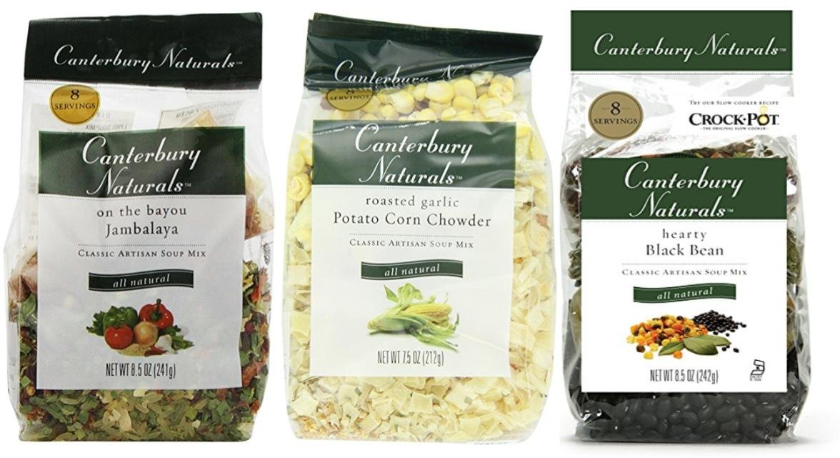 Canterbury Naturals Savory Soup Mix Sampler Pack 6-Pack (2 Jambalaya/ 2 Pot Corn Chowder/ 2 Black Bean)