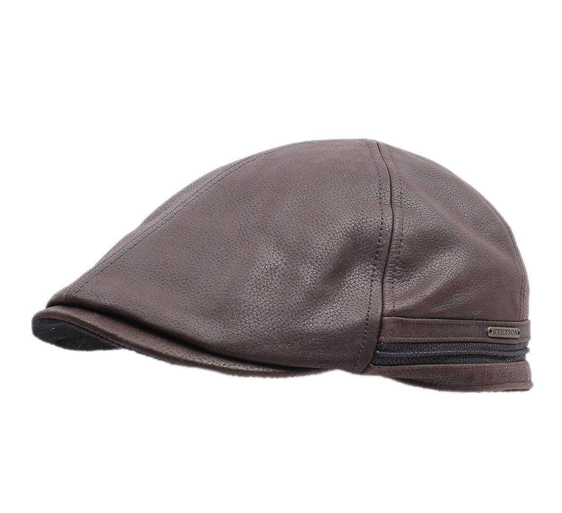 Stetson Men s Redding Leather Flat Cap at Amazon Men s Clothing store  7d14270fefe5