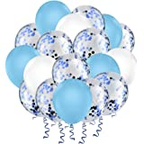 "Hianjoo Balloons Set [60 Pcs], 12"" Latex Confetti Balloons with 4 Roll Ribbon and 1 Dispensing for Birthday, Wedding…"