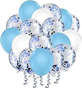 """Hianjoo Balloons Set [60 Pcs], 12"""" Latex Confetti Balloons with 4 Roll Ribbon and 1 Dispensing for Birthday, Wedding, Decoration, Baby Shower, Kids Parties (Matte Blue + White)"""