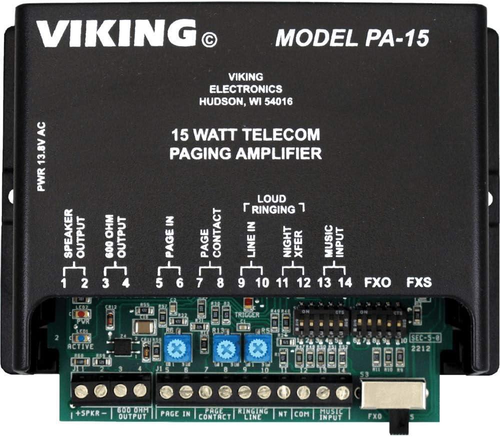 Viking 15 Watt Paging Amplifier and Loud Ringer (PA-15)