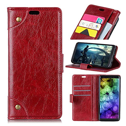(AICEDA Asus ZenFone Max Plus ZB570TL Genuine Leather Wallet Case Cover, Flip Stand, Card Slot, Stylish, Wine Red)