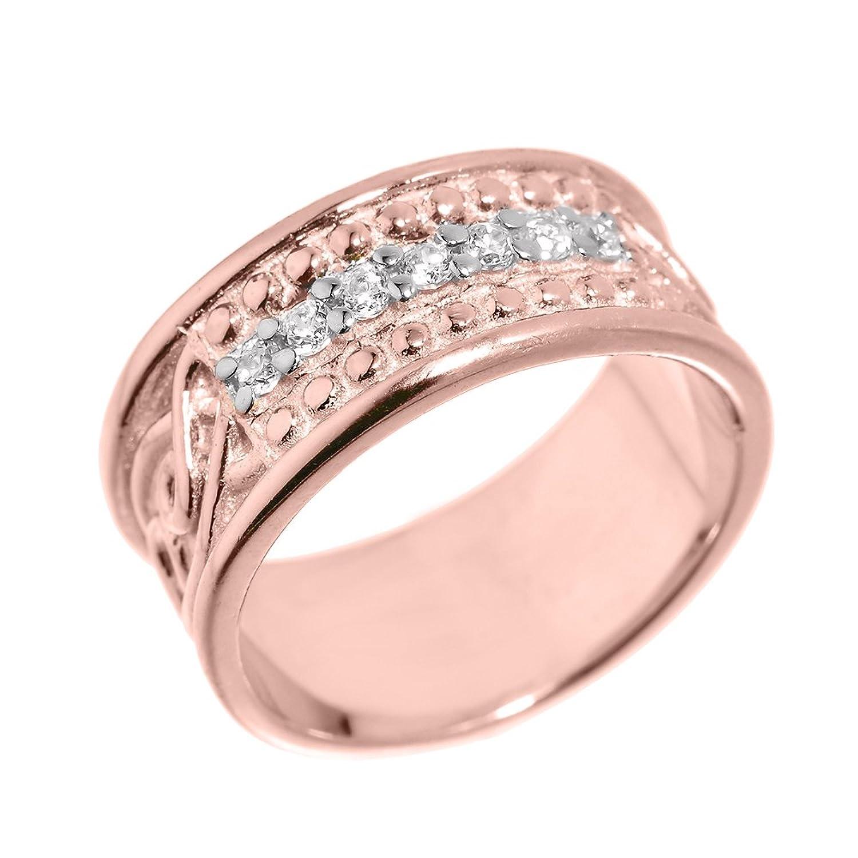 Men\'s 10k Rose Gold 8 mm Celtic Knot Band 7-Stone Diamond Wedding ...