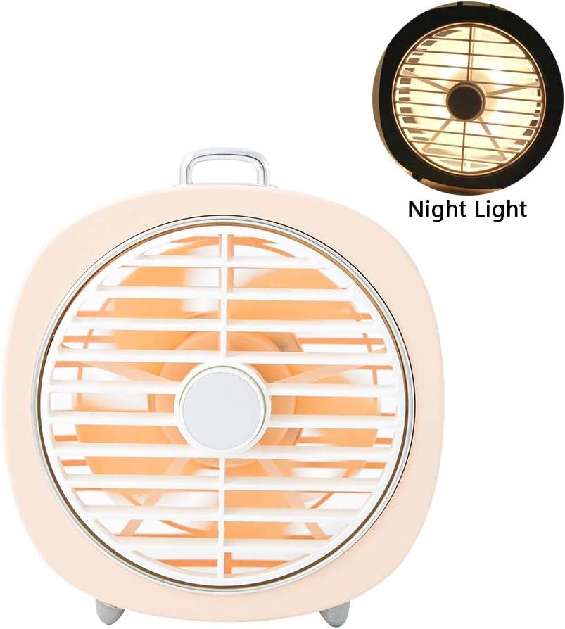 MIMI KING Ventilador de Escritorio Mini USB portátil, Ventilador de Mano pequeño, Velocidad de 3 Vientos, luz Nocturna LED, dirección de Viento de 180 ° de Ancho, Carcasa Lavable extraíble,Pink
