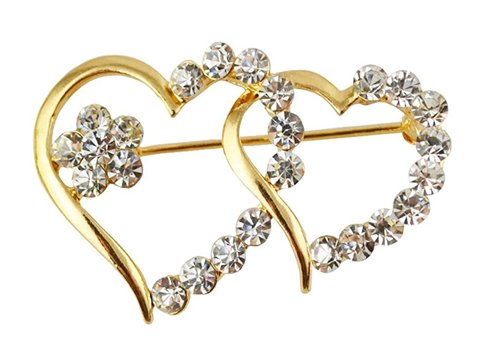 Wonvin Double Coeurs écharpe Boucle Broche Broche Broches Broches avec Cristal 18 k plaqué Or pour Les Cadeaux WVN0108