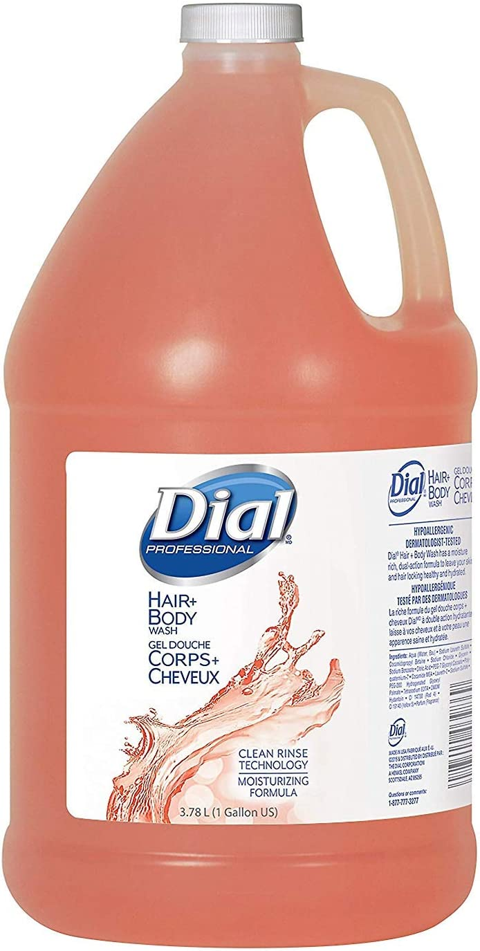 Dial Professional 03986 Body & Hair Shampoo Include 1 Pump 1 Gallon (8-Pack)