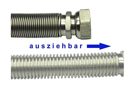 "variable Länge Edelstahlwellrohr ausziehbar DN15 Edelstahlschlauch 1//2/"" ÜM x AG"