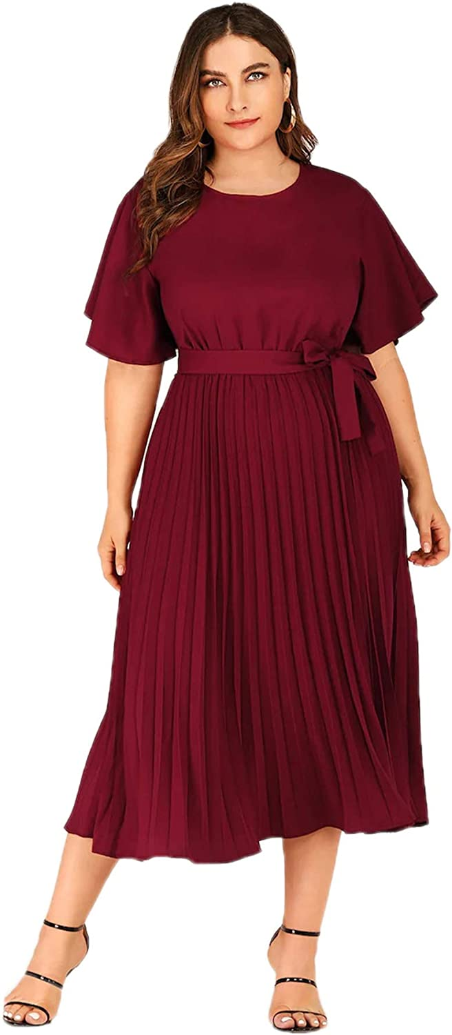 Milumia Womens Elegant Pleated Belted Solid Long A Line Dress