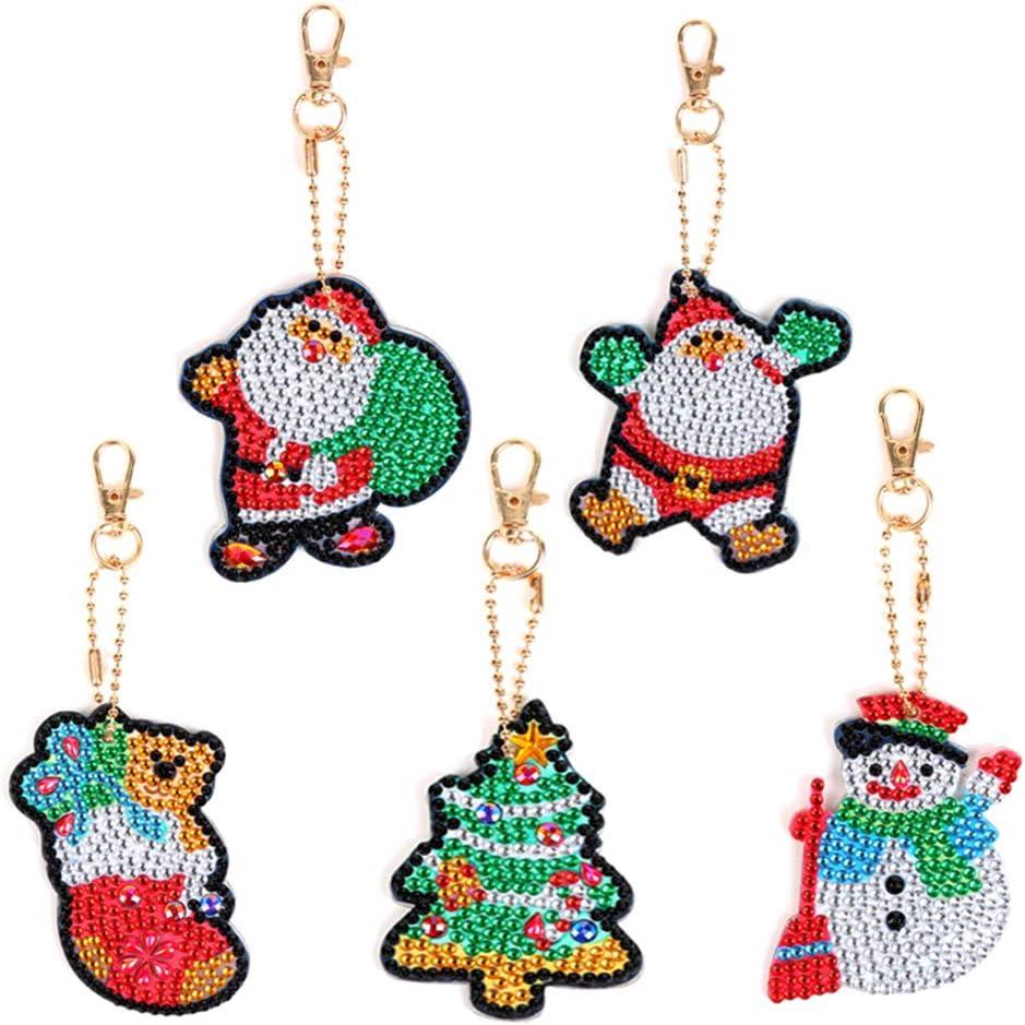 MWOOT 5D DIY Christmas Pittura Diamante Portachiavi,Natale Diamond Painting Keychain Portachiavi per Quadro Mosaico Creazione di Kit Decorativi Pendente per Artigianato