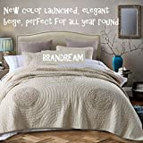 Brandream King Size Beige Bed Quilt Set Luxury Bedspread Shabby