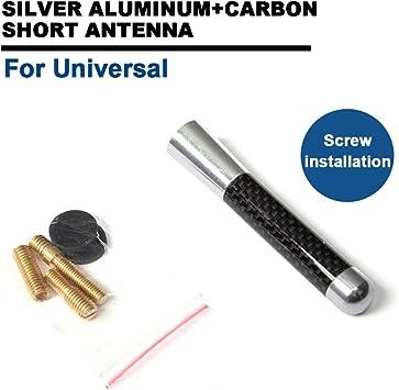 TGFOF UKCW-0126 Antena Corta Coche Aluminio + Carbono 11CM Plata
