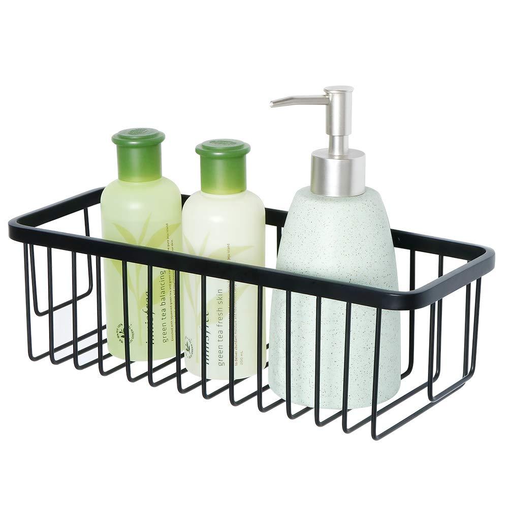 SAYAYO rettangolare cestino portaoggetti da doccia mensola per doccia, montaggio a parete, sus-304in acciaio INOX opaco nero, egy300-b