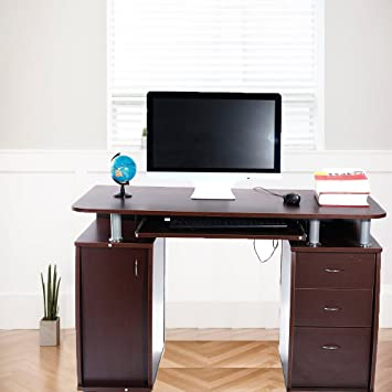 FCH Econ Multipurpose Home Office Desk Computer Writing Desk With Keyboard  Tray And 1 Cabinet 3