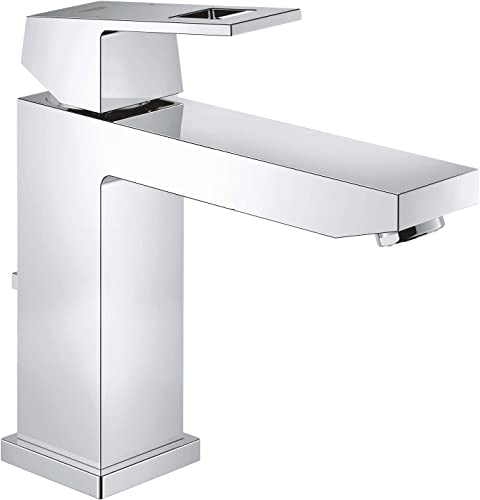 GROHE 23445000 Eurocube Bathroom Tap Pop-Up Waste, Medium High Spout and Ecojoy
