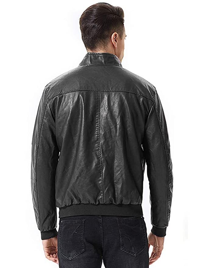 sunseen Mens Winter Fashion Faux Leather Jackets Stand Collar Fur Lined Coat Warm Biker Motorcycle Bomber Jacket Outerwear at Amazon Mens Clothing store:
