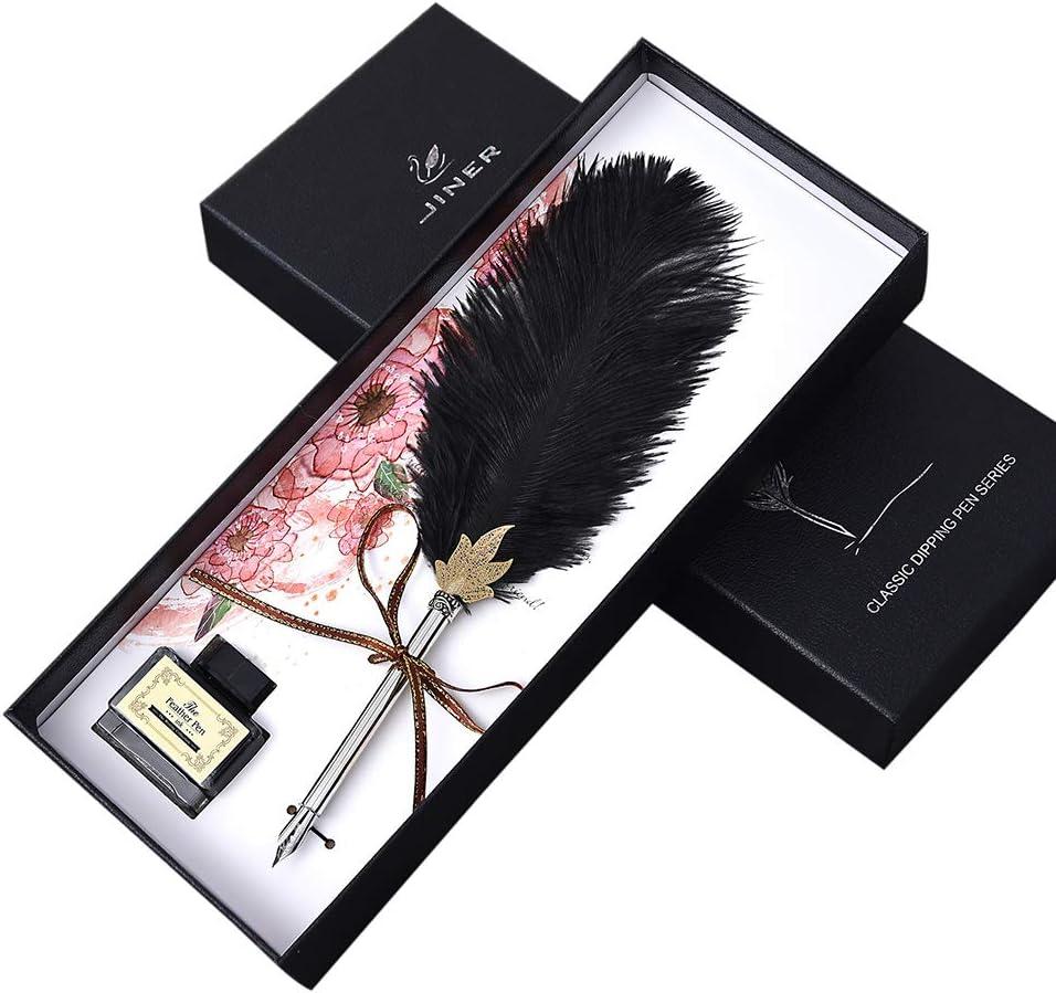 Penna stilografica fatta a mano in stile vintage con piuma di struzzo e inchiostro per calligrafia inglese regalo di nozze bianco