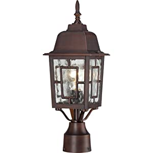 Nuvo Lighting 60/4928 Banyon One Light Post Lantern 100 Watt A19 Max. Clear Water Glass Rustic Bronze Outdoor Fixture