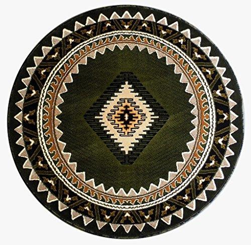 South West Native American Rug Green Design #143 (6 Feet 8 Inch X 6 Feet 8 Inch) Round (Hunter Green Kitchen Rugs)