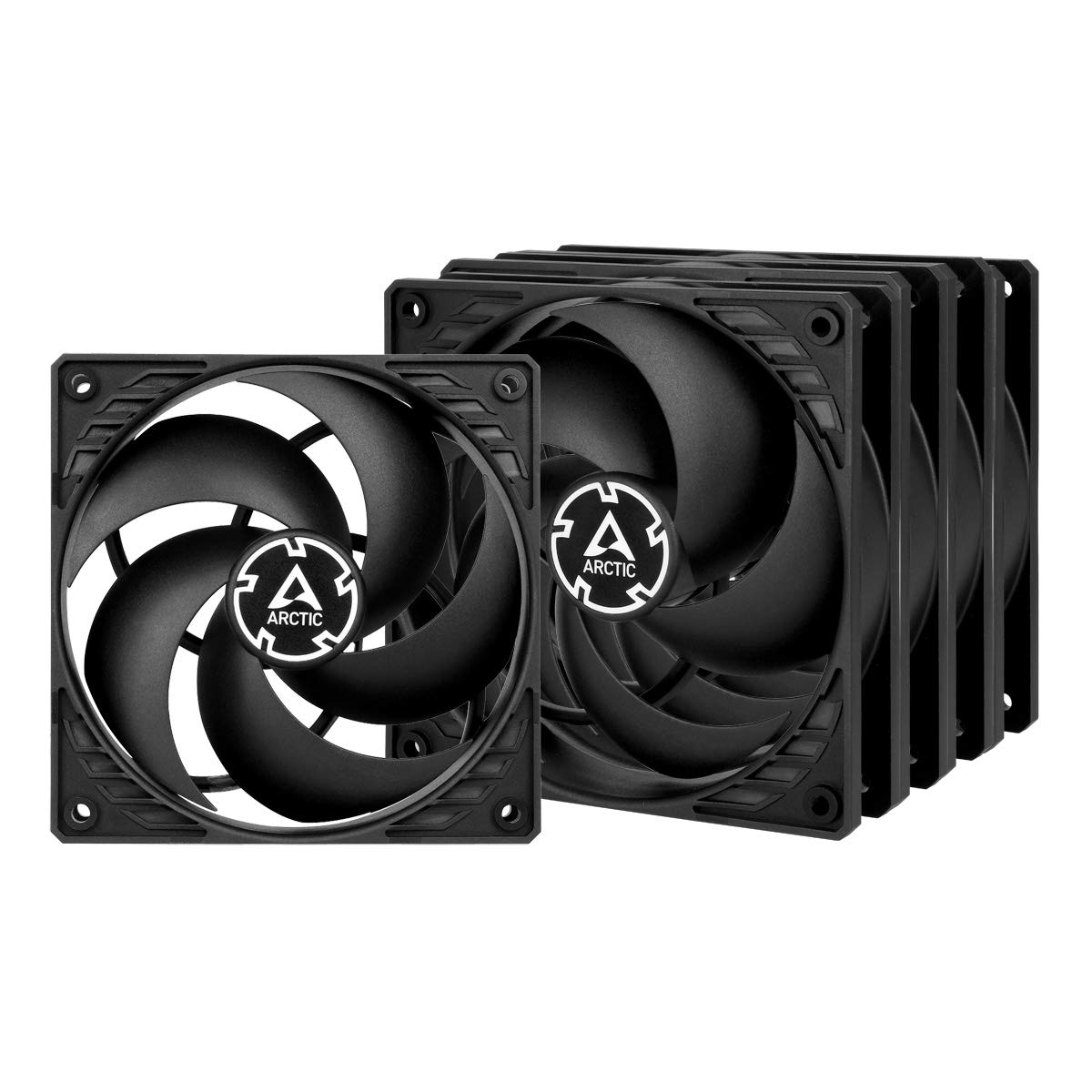 ARCTIC P12 PWM PST (Black/Black) Value Pack - Pressure-optimised 120 mm Fan with PWM and PST (PWM Sharing Technology) by ARCTIC