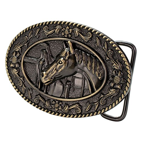 - Buckle Rage Women's Horse Head Stable Tack Saddle Equestrian Oval Belt Buckle Bronze