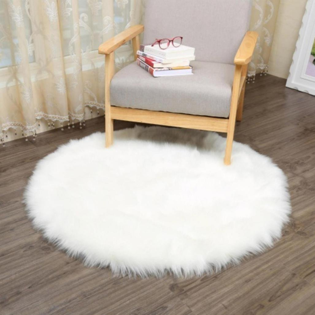 Bokeley Soft Artificial Sheepskin Rug Chair Cover Artificial Wool Warm Hairy Carpet Seat (White, 30cm) by Bokeley