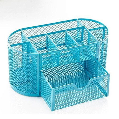 AUCH Multifunctional 9 Components Office Home Mesh Table Storage Box /Desktop Organizer/ Pen Holder/ Pencil Cup Container/ Cell Phone Holders/ Cosmetic Holder/ Desk Sorter with Drawers,Blue