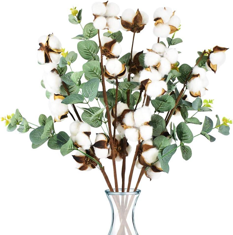 PACETAP Cotton Stem Decor, 25 Balls Farmhouse Cotton Blossom Stems with Eucalyptus Leaves, 5 Pick 20 Inch for House Room Wedding Floral Arrangement Decoration