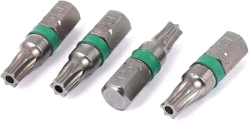 sourcingmap/® Queue hexagonale 1//4 Cl/é Torx T25 Tournevis s/écurit/é gris 25 mm longue 4 pc.