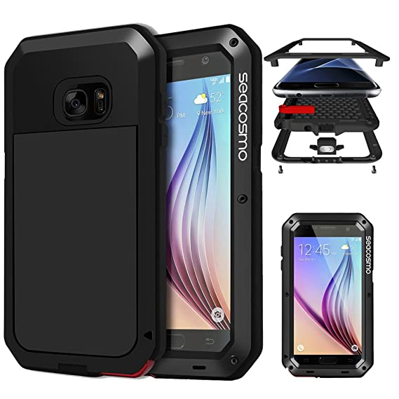 cheap for discount 357bd a01c6 Galaxy S6 Case with Screen Protector, Seacosmo Full Body Rugged Armor  Aluminum Metallic Shockproof Scratch-Resistant Dual Layer TPU Bumper Case  for ...