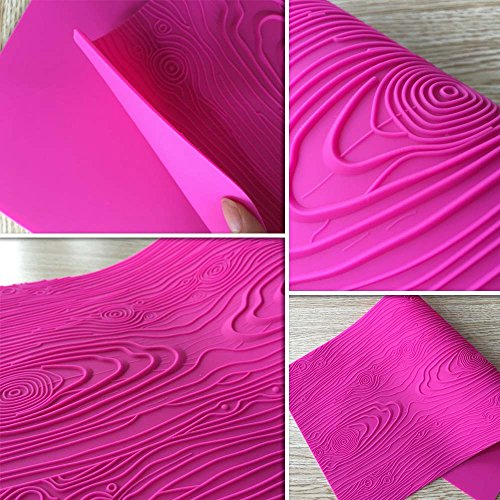 ART Kitchenware Woodgrain Fondant Impression Mat Silicone Cake Lace Mold Color Pink BLM-23